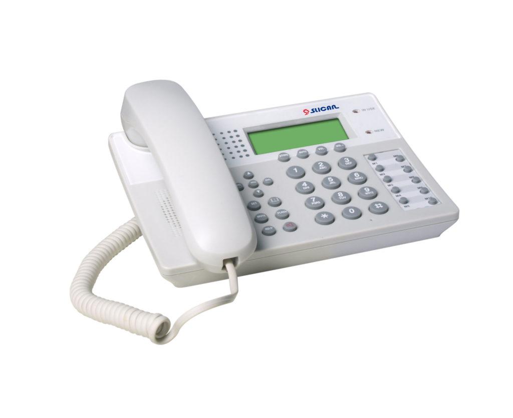 telefon analogowy biały z bogatą klawiaturą i wyswietlaczem