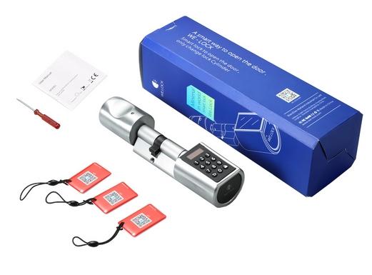 zamki elektroniczne - zamek na kod cyfrowy, wygląd opakowania i jego zawartośc, wkładka, karty oraz klucze do montażu