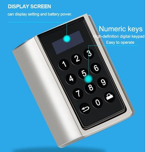 zamek na kod cyfrowy, wynajem krótkoterminowy, kontrola dostępu, widać element z klawiatura i wyświetlaczem, służy do wpisania kodu do zamka do drzwi