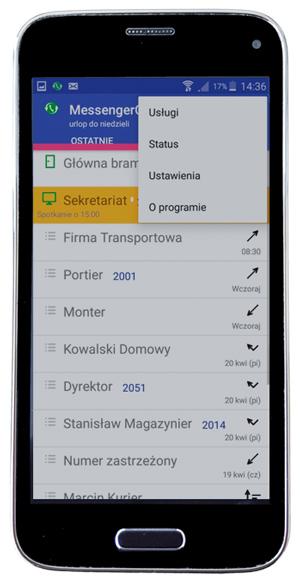 smartfon z otwartą stroną  historii połączeń aplikacji messenger cti slican