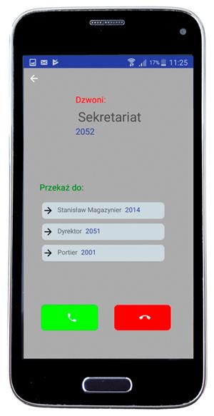 widać smartfon z ekranem głownym aplikacji messenger cti slican