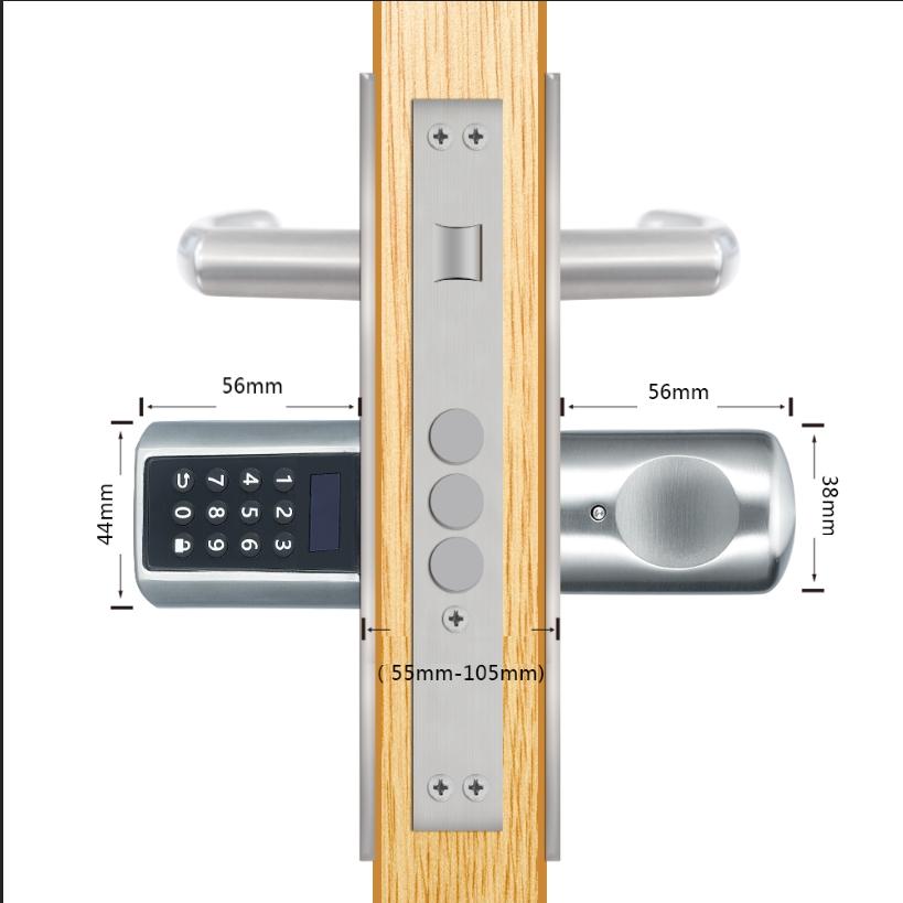 zamek do drzwi cyfrowy widać przekrój z boku, z wewnątrz gałka do chwytania, z zewnątrz gałka z klawiatura i wyświetlaczem