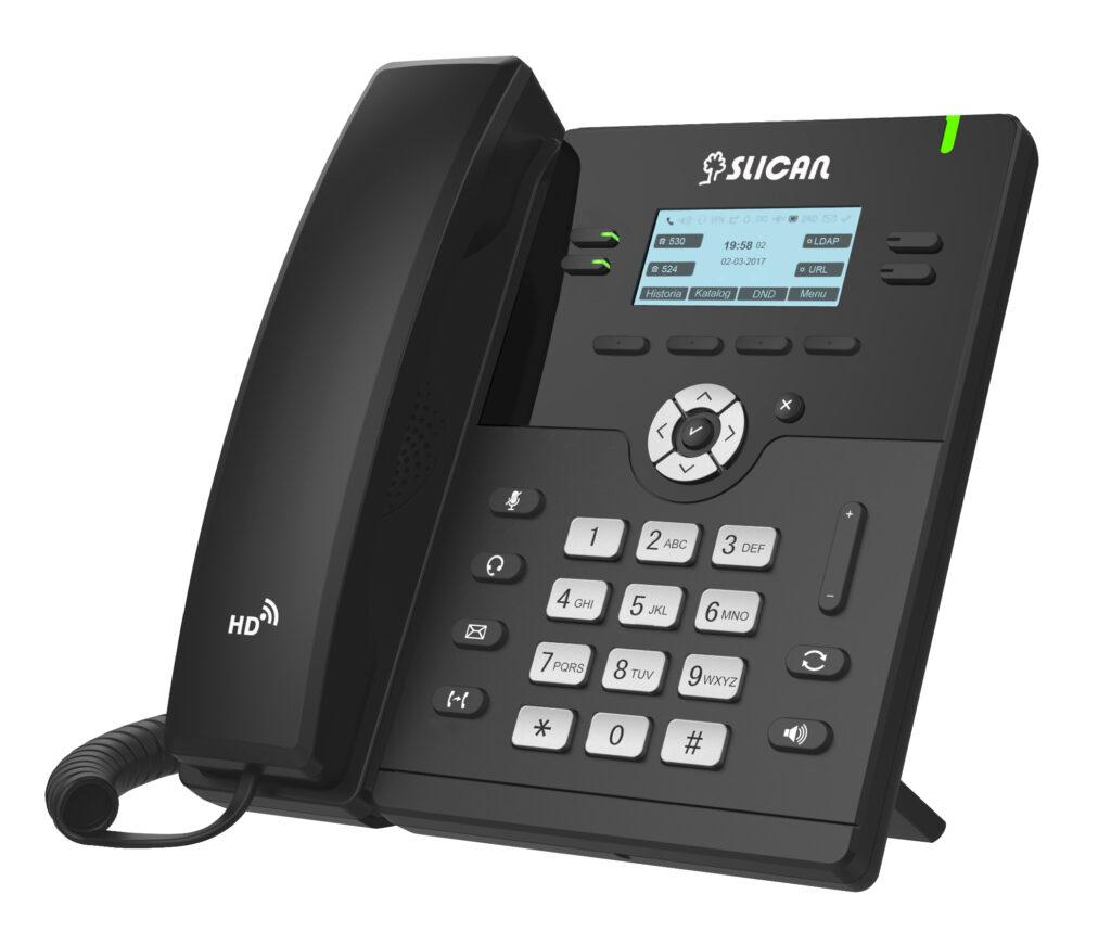 telefon voip stacjonarny czarny z wyświetlaczem