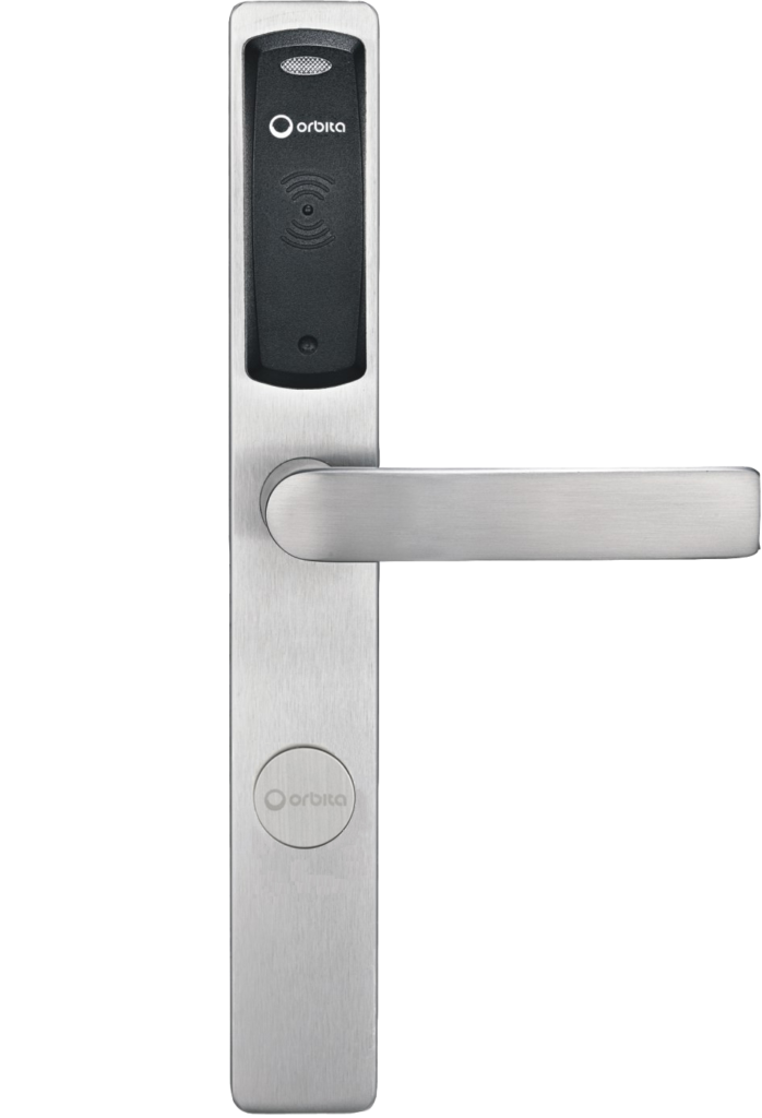 zamek hotelowy srebrny stalowy, szyld, klamka, miejsce na przyłożenie karty otwierającej elektroniczny