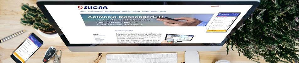 widać monitor z aplikacją messenger cti slican, klawiature i telefon komórkowy z otwarta aplikacją