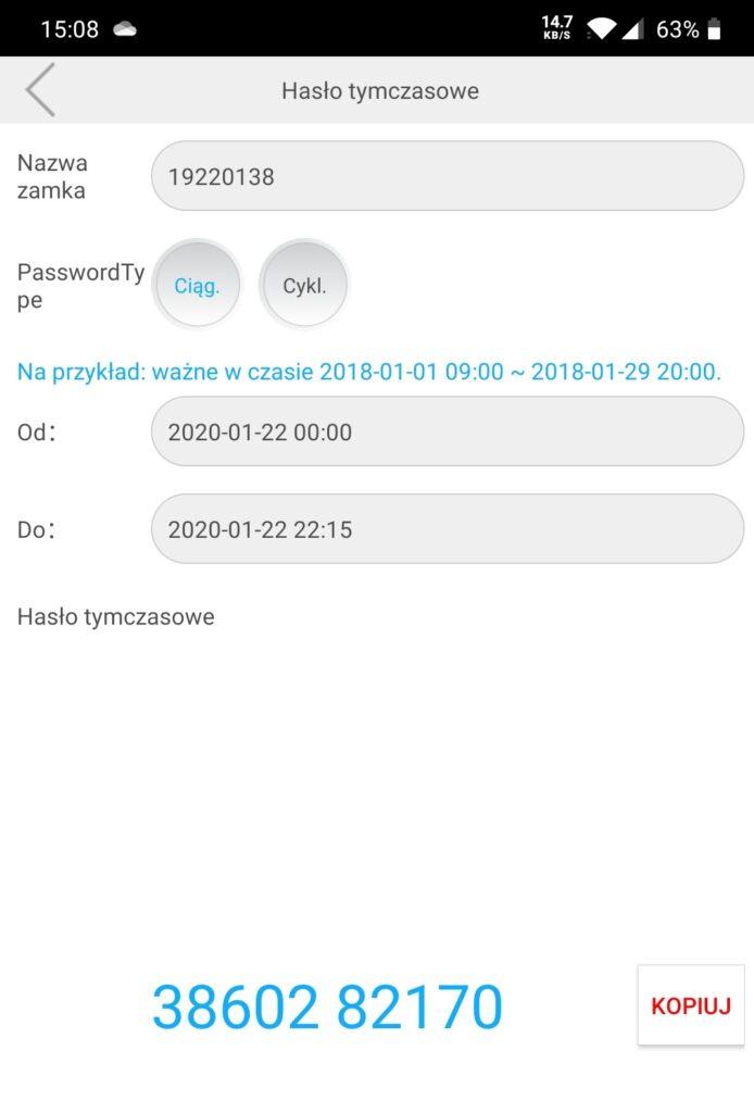 Hasło tymczasowe widok ekranu aplikacji w trakcie zdalnego generowania kodów umożliwiających wejście do apartamentu